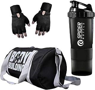 Udak Combo of Gym Accessories Kit, 20l Grey Body Building Gym Bag + Hand Support Black Gym Gloves + 700ml Grey Tablet Shaker Bottle/Protein Shaker/Sipper for Both Men's & Women's, Boy's & Girl's.