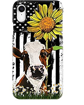 American Flag Sunflower Cow Phone Case for Apple iPhone - Glass Case with Unique Fashion Printed Design Slim Fit Anti Scratch Shock Proof,Case Cover Compatible for iPhone,11