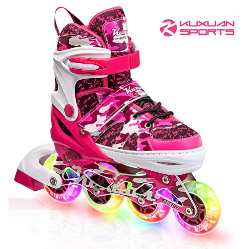 Kuxuan Girls Camo Pink Adjustable Inline Skates with Light up Wheels, Fun Illuminating Roller Blading for Kids Girls Youth - Large(3-6)