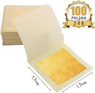 KINNO Pan de Oro Comestible 100 hojas 1.7''x1.7''/4.33cm Lámina de Oro Auténtico para Decoración de Pasteles & Chocolates Salud & Spa