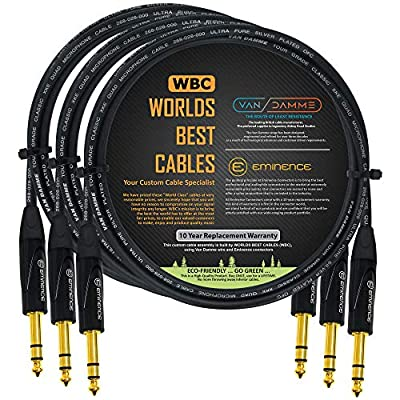 3 Units - 1 Meter - Van Damme Tour Grade Classic XKE Starquad - Premium Silver-Plated OFC Balanced TRS Patch Cable with Eminence E502 6.35mm Gold TRS Stereo Connectors