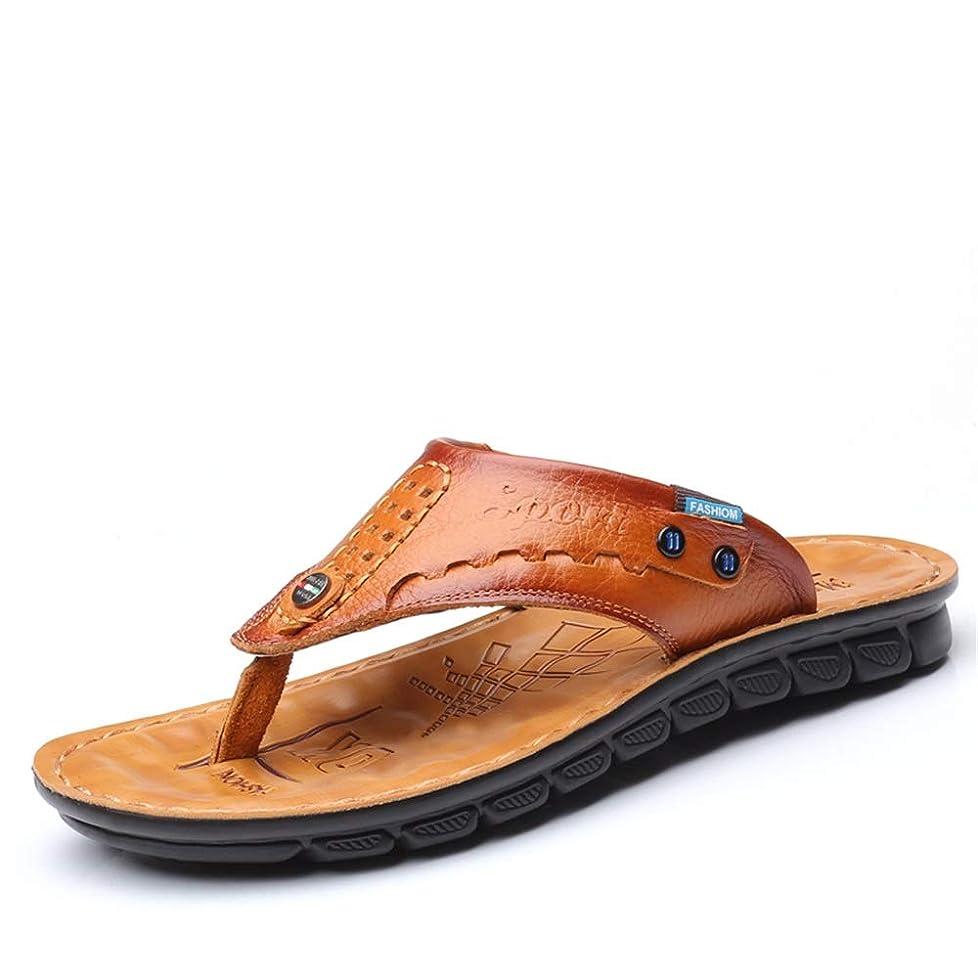 裏切り者人生を作る車両[CHENJUAN] 靴メンズサンディビーチフリップフロップひもマイクロファイバーレザー強い滑り止め穿孔ストラップスリッパ