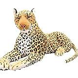 JWC Animales de Peluche, Juguetes de Leopardo acostado, Guepardo de Peluche, Animal de Peluche Gigante, Accesorios de fotografía, Regalos de cumpleaños de Navidad