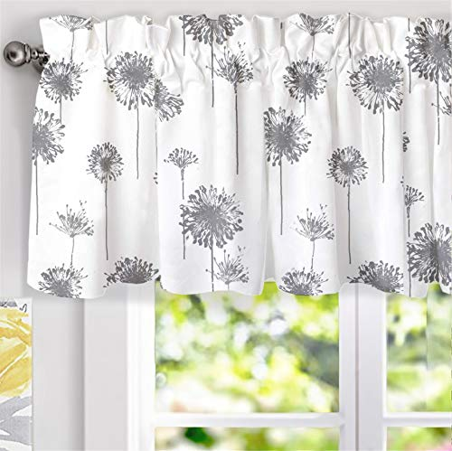 DriftAway Dandelion Floral Botanical Lined Thermal Insulated Window Curtain Valance Rod Pocket 52 Inch by 18 Inch Plus 2 Inch Header Gray 1 Pack