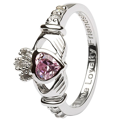 October Birth Month Silver Claddagh Ring  Made in Ireland.