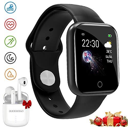 Smartwatch Offerta Del Giorno, Impermeabile DUODUOGO K8 Bluetooth Smartwatch per uomo Donna Bambini Compatibile Android iOS, Tracker Attività Fitness Con Cardiofrequenzimetro (K8-Nero)