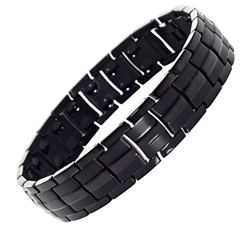 Titanium Magnetic Pain Relief Therapy Bracelet from MnB Magnetic Bracelets (Black)