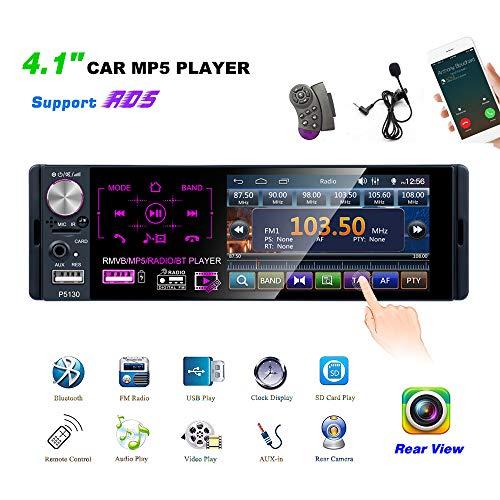 YYKJ 1 Din Autoradio Bluetooth mit 4,1Zoll MP5-Player Touch HD kapazitiven Bildschirm, FM AM RDS Autoradio mit Zwei USB- / AUX-In- / SD-Kartenanschlüssen + Rückfahrkamera + Lenkradsteuerung