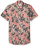 Marca Amazon – Goodthreads – Camisa estampada de manga corta de popelín y corte entallado para hombre, Pink Large Floral, US XS (EU XS)