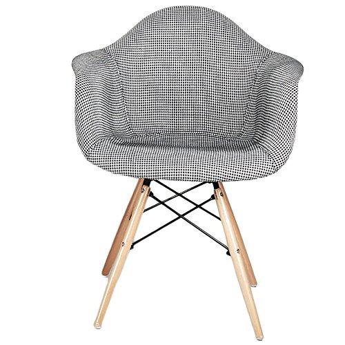 G-Y Canapé paresseux, Canapé simple nordique en bois massif, chaise de café, chaise longue de balcon (Couleur : Noir et blanc)