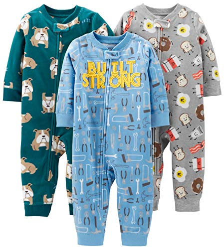 Simple Joys by Carter's Boys' 3-Pack Loose Fit Flame Resistant Fleece Footless Pajamas, Bulldogs/Breakfast/Tools, 12 Months