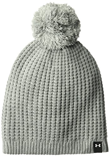 Under Armour Women's Favorite Waffle Pom Beanie, True Gray Heather (025)/White, One Size Fits All