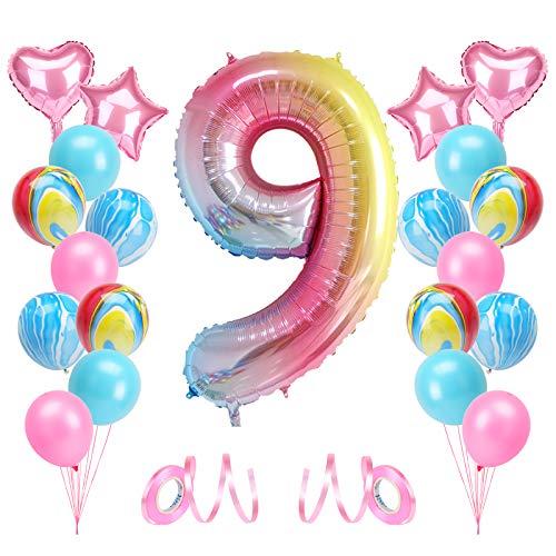 KATELUO Globo de Cumpleaños 9 Años, Decoración de Cumpleaños 9 Años, Globo Numero 9 Gigante, Cumpleaños Globos 9 Años Niña, Globos de Cumpleaños Niña 9 Años para Fiestas de Cumpleaños