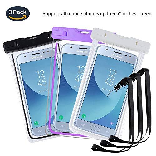 pinlu® 3 Pack IPX8 wasserdichte Tasche, für Smartphones bis 6 Zoll, für Archos 55 Helium Ultra, Archos 55 Diamond Selfie, Archos 55 Helium Plus, sandproof Protective Shell -Schwarz+Weiß+Lila