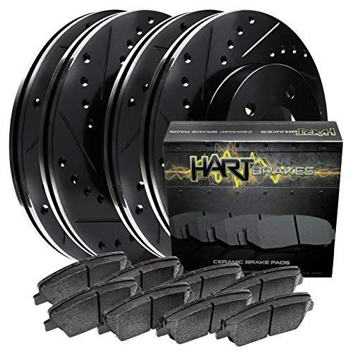 Fit 2005-2008 Cadillac STS,CTS Black Hart Full Kit Brake Rotors Kit+Ceramic Pads