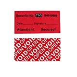 100pcs 100% Total Transfer Tamper Proof Security Warranty Void Labels/ Stickers/ Seals (Red, 1 x 2 Inches, Unique Numbers - TamperSTOP)