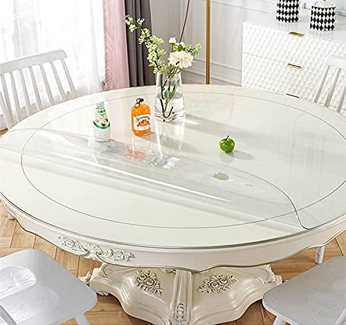 SWD TWTH Protector de mesa transparente, para mesa redonda, lavable, mantel de PVC transparente, 120/140 cm, almohadillas de plástico impermeable para comedor o casa (transparente, 110 cm)