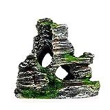 Prevessel Decoración de acuario con vistas a la montaña y pecera, adorno de pecera, decoración de acuario, plantas artificiales de resina, adorno de pecera de árbol
