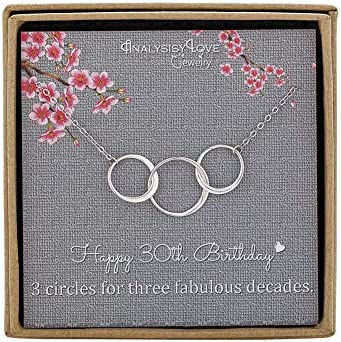 AnalysisyLove 30th Birthday Gifts for Women Sterling Silver Infinity 3 Circle Necklace for Her product image