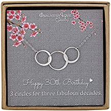 AnalysisyLove 30th Birthday Gifts for Women - Sterling Silver Infinity 3 Circle Necklace for Her 3 Decades Jewelry Gift Ideas