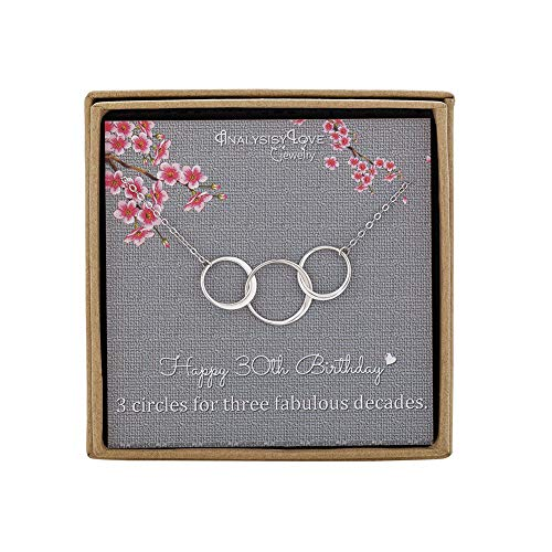30th Birthday Gifts for Women - Sterling Silver Infinity 3 Circle Necklace for Her 3 Decades Jewelry Gift Ideas