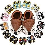 MARITONY Chausson Bebe Fille Chausson Cuir Bebe Garcon Chaussons Bébé Premiers Pas Garçon Fille Chaussures Bébé Cuir Souple Daim Antidérapants, BrownFox 18-24 Mois