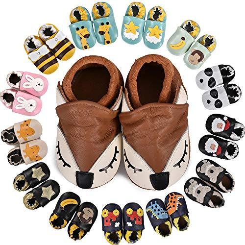MARITONY Chausson Bebe Fille Chausson Cuir Bebe Garcon Chaussons Bébé Premiers Pas Garçon Fille Chaussures Bébé Cuir Souple Daim Antidérapants, BrownFox 12-18 Mois