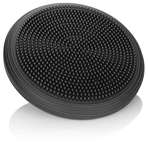 COM-FOUR® Balanskussen - opblaasbaar balkussen - mobiel kussen met Ø 33 cm - balanskussen voor fitness, revalidatiesporten, rugtraining, evenwichtsoefeningen (zwart)