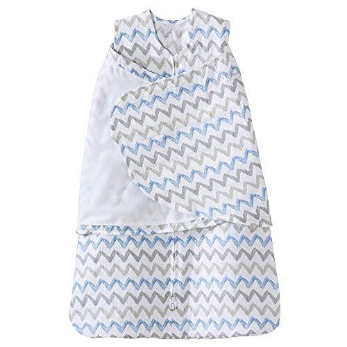 HALO 100% Cotton Muslin Sleepsack Swaddle Wearable Blanket, Blue/Grey Zig Zag, Small