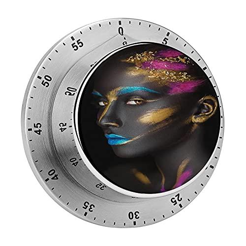 Reloj mecánico de mujer negra afroamericana de moda en la cara con alarma fuerte de acero inoxidable, no requiere pilas, recordatorio de cuenta regresiva para cocinar leer hacer deportes
