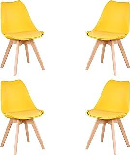 KunstDesign Nordic Chair (Pack 4) - Silla escandinava Amarillo - Mona - (Elija su color)