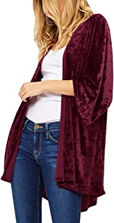 Imily Bela Womens Velvet Kimono Batwing Sleeve Draped Open Front Casual Cardigan Jackets