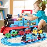 glzcyoo Fun pequeños Juguetes Tren de Juguete con Luces y Sonidos for Debajo del árbol, Pistas del Tren eléctrico de Juguete con el ferrocarril for los niños, Regalo for niños y niñas (Color : A)