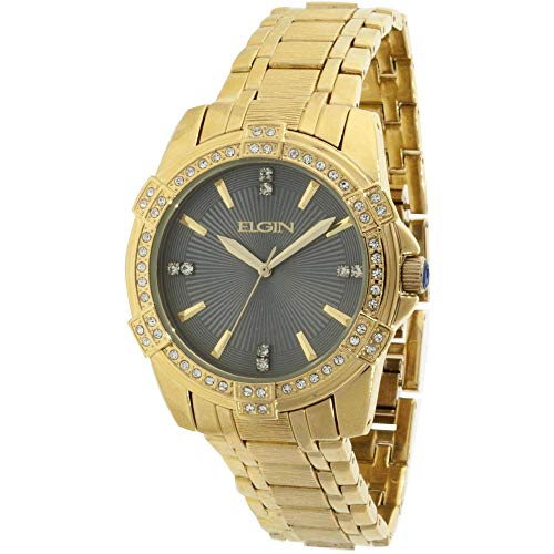 Elgin FG10009ST Round Gold Men's Watch and Matching Bracelet (Dark Gray Face) -  ACUFG10009ST