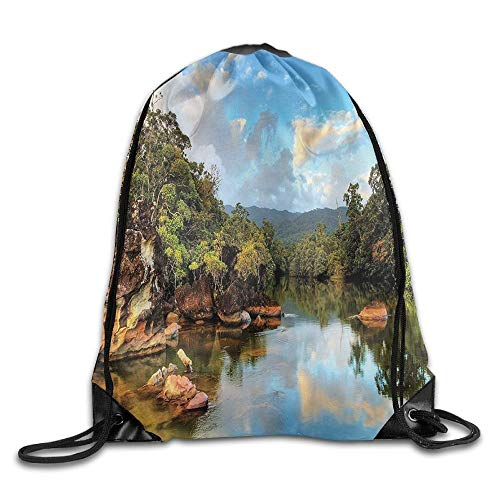 CSXKUL View of The Tropical Jungle River at The Beach of Masoala National Park in Madagascar Drawstring Bags Jogging Backpack for Teens College