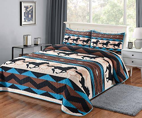 Southwest Wild Horse Quilt 3 Pieces King Quilt Set, King Quilt Blanket with 2 Pillow Shams, Lodge Ranch Cabin Forest Hunting Style Bedding 108  x 90