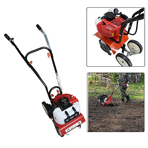 Cheap SHZICMY Tiller Cultivator, Air-Cooled 2-Stroke 52CC Soil Petrol Gas Powered Mini Tiller Cultiv...