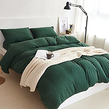Adyonline 3 Pcs Jersey Cotton Comforter Cover Set Solid Pattern(1 Duvet Cover,2 Pillow Shams) Bedding Set---Breathable&Lightweight\Dark Green,King