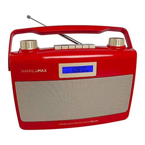 HANNLOMAX HX-500R Portable AM/FM Radio, Bluetooth, USB Port for MP3 Playback, Aux-in, AC/DC Dual Power Source. (Red)