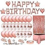 Eigenmarke Geburtstagsdeko, Roségold Deko, Happy Birthday Ballons, Glitzer Vorhang, Konfetti, Herz Stern Folienballons, Latexballons, Roségold Ballons, Roségold Tischdecke, Party Deko für Mädchen