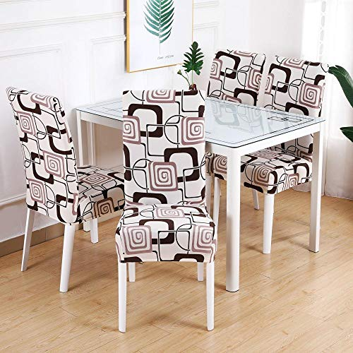 Fundas para sillas Geometría Beige Spandex Fundas sillas Comedor Lavable Extraíble Funda Muy fácil de Limpiar Duradera Modern Bouquet de la Boda Hotel Decor Restaurante 6/Piezas