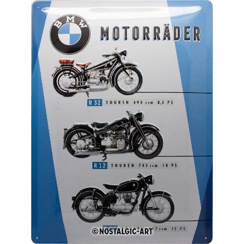 Nostalgic-Art Retro Blechschild Schild   Wand Metall BMW – Motorräder Chart – Geschenk-Idee für Auto Zubehör Fans, Vintage-Design zur Dekoration, 30 x 40 cm