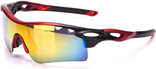 LUKEEXIN Photochromic Sports Sunglasses Set 3pcs Interchangeable Lenses UV400 Protection Driving Cycling Running Fishing Golf (Color : Red)