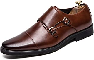 Sygjal Men's Business Oxford Casual Personality Fashion Breathable PU Leather Slip On Shoes (Color : Brown, Size : 47 EU)