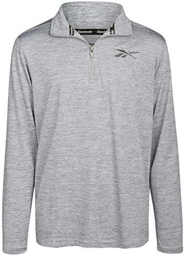 Reebok Boys' Sweatshirt - Lightweight Long Sleeve Quarter-Zip Pullover Athletic Performance Shirt, Size Small, Grey