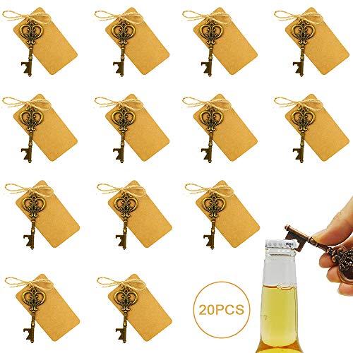 gotyou 20 Piezas Llavero del Abrebotellas de Cerveza,Abrebotellas Vintage con Tarjetas de Etiqueta,Abrebotellas de Recuerdo de Boda,Fiesta Cumpleaños Regalo de Boda