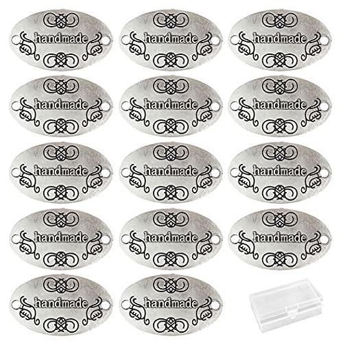 Aabellay 60 piezas de aleación de metal hecho a mano metal etiquetas hechas a mano colgante de cuentas para hacer joyas, manualidades, hallazgos de regalo – 32 x 19 mm – plata ovalada