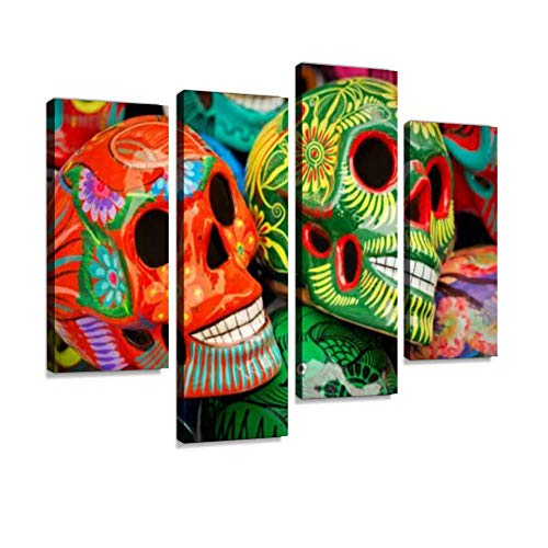 Canvas Wall Art Painting Pictures Decorated Colorful Skulls at Market, Day of Dead, Mexico Modern Artwork Framed Posters for Living Room Ready to Hang Home Decor 4PANEL