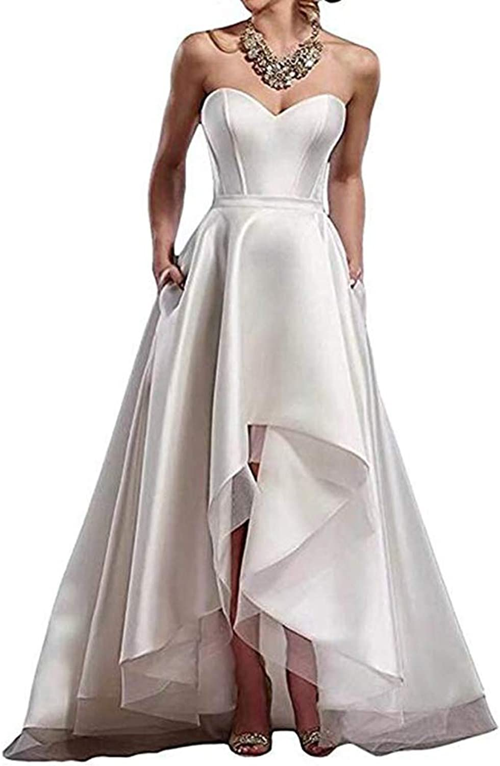 Sexy Sweetheart High Low Wedding Dresses for Bride 2019 Satin Sleeveless Bridal Dresses Wedding Party Gown with Pockets