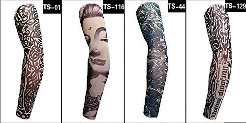 4 pcs Tatouage Temporaire Bras manches Arts Faux Slip on Bras de crème solaire manches Art corporel Bas Protector – Designs Tribal, tigre, Dragon, tête de mort, et etc. Unisexe extensible Cosplay Accessoires (Pattern 4)